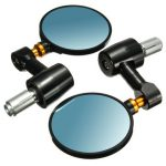 22mm/0.87in Motorcycle Handlebar End Rear View Side Rearview Mirror CNC Aluminum Pair Black