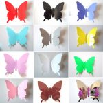 12PCS 11 Colors 3D Glossy Butterfly Wall Sticker Fridge Magnet Home Decor Art Applique