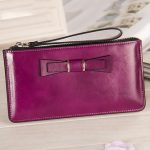 "Women Bowknot Long Wallets Zipper Oil Leather Clutches Bags Card Holder 5.5"" Phone Wallets"