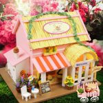 Hoomeda 1/24 DIY Wooden Wonderland Royal Florist With LED Furniture Dollhouse