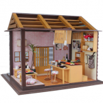 Hoomeda DIY Wood Dollhouse Miniature With LED Furniture Sushi Bar