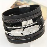 Leather Multi Layer Leaf Punk Magnet Clasp Bracelet Jewelry For Men Women