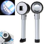 DS-3 10X Handheld LED Optical Glass Magnifier with Scale Magnifying Jewelry Loupe