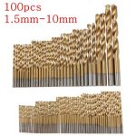 100pcs 1.5mm – 10mm Titanium Coated Drill Bit Set High Speed Steel Manual Twist Drill Bits