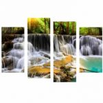 4Pcs Waterfall Combination Painting Printed On Canvas Frameless Drawing Home Wall Decoration