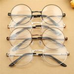 Unisex Polycarbonate Round Oval Metal Rim Plain Glasses Vintage Eyeglasses For Men Women