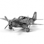 Aipin DIY 3D Puzzle Stainless Steel Model Kit P51 Fighter Silver Color