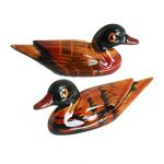 2PCS Wood Simulate Mandarin Duck Animal Small Ornament Garden Home Decoration