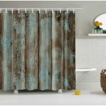 Old Wood Door Design Shower Curtain Waterproof Polyester Fabric Bathroom Curtain