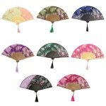 Handmade Flower Pattern Chinese Folding Bamboo Silk Hand Fan Dance Party Wedding Prom