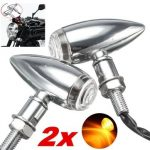 4pcs 10mm Motorcycle Bullet Turn Signal Indicator Light For Harley Davidson Cruiser Chopper Chrome