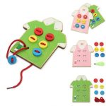 Wooden Wear The Button Girl Boy Kids DIY Daily Life Skill Developmental Toy