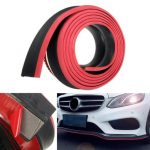 98x2inch Black Red Car Front Bumper Protector Rubber Auto Lip Body Spoiler Decoration