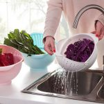 2-in-1 Vegetables Basin Wash Rice Sieve Fruit Bowl Fruit Basket Kitchen Gadget