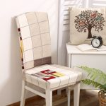 Honana WX-913 Elegant Plaids Stripes Elastic Stretch Chair Seat Cover Dining Room Home Wedding Decor