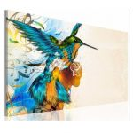 75X50cm Colorful Fly Lark With Note Wall Portrait Painting Frameless Picture Home Decoration
