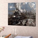 40X50CM Steam Train Painting DIY Self Handcrafted Paint Kit Wood Framed Home Decoration