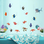Coloful Underwater World Wall Sticker Living Room Home Decoration Creative Decal DIY Mural Wall Art