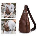 Men Leather Chest Bag Vintage Brown Black Shoulder Bag Well-designed Crossbody Bag