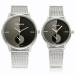 WoMaGe 654 Stainless Steel Mesh Band Analog Quartz Women Men Couple Watch