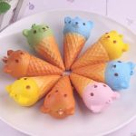 10PCS 8X4.5CM Fragrant Simulate Cute Bear Ice Cream Squishy Toy Stress reliever Phone Chain