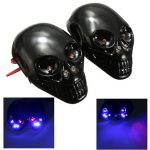 12V Motorcycle Skull Turn Signal LED License Plate Light Skeleton Head