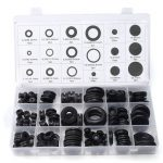 125Pcs Black Rubber Grommet Seals Washer O-Ring Waterproof Ring