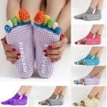 Colorful Five Finger Toe Yoga Non Anti Skid Slip Socks Pilates Gym Exercise Fitness Massage Multicolor