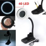 40LED Lighting Desktop Table Desk Flexible Lamp with 5X 10X Magnifier Night Read