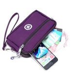 """2 Interlayers Zipper Clutches Bags Women Nylon Waterproof Coin Bags 5.5"""" Phone Purse For Iphone 7P"""