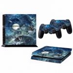 Moon Wolf Skin Sticker for PS4 PlayStation 4 Console with 2 Controller Protector Skin