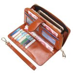 "Oil Leather Long Hasp Wallet Girls Vintage Purse Card Holder Elegant Clutches 5.5"" Phone Purse"
