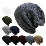 Unisex Men Women Stripe Knitted Slouch Beanie Hat Pure Color Elastic Winter Warm Cap