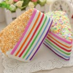 14x9x8cm Squishy Rainbow Cake Simulation Super Slow Rising Fun Gift Toy Decoration