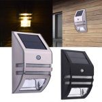 Solar Power PIR Human Induction 2 LED Light Garden Balcony Stainless Steel Wall Lamp