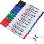 12 Pcs Whiteboard Marker Pen White Board Dry-Erase Marker Bullet Tip 4 Colors