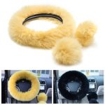 3Pcs Plush Wool Soft Car Steering Wheel Cover Woolen Auto Handbrake Shift Knob Guard