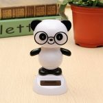 Solar Powered Glasses Panda Flip Flap Swinging Shook His Head Doll