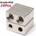 10pcs N35 20x10x4mm Block Countersunk Magnets Neodymium Magnets With 2 Holes