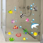 Tropical Cartoon Fish Sea Bubble Ocean World Removable Wall Bathroom Sticker Glass Pastes Decor