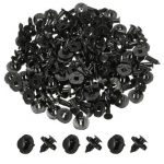 100Pcs 8mm Hole Plastic Car Rivets Fastener Clip Fender Black