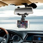 Universal Car Phone Holder 360 Degrees Rearview Mirror Mount Auto Mobile Scaffold