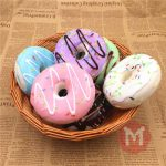10cm Cute Donuts Big Bread Charms Kawaii Squishy Soft Bag Keychain Straps Decor