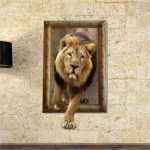 3D Lion Wall Decals Animal PAG STICKER Removable Picture Stickers Home Kid Room Decor Gift