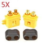 5 Pair Amass Fixed XT60-L Plug Connector With Sheath Housing Male Female