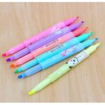 6pcs Cartoon Cute Creative Double Side Highlighter Marker Pen Marker Office School Supplies