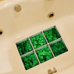 PAG 6pcs 13x13cm Four-leaf Clover Pattern 3D Anti Slip Waterproof Bathtub Sticker