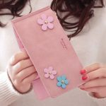 Women Long 20 Card Slots Phone Wallet Durable Pu Leather Coin Floral Decoration Purse