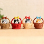 Cute Basket Cat Resin Handicraft Decoration