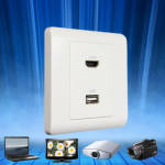 86 type 2port USB HDMI wall plate white Wall Face Plate Panel Outlet Socket
